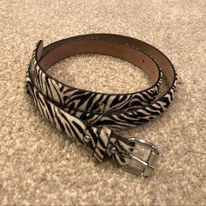 Ann Taylor Zebra print leather belt (Med)